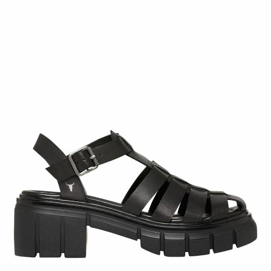 Windsor Smith - STEPHANIE LEATHER SANDAL 0112000512 BLACK