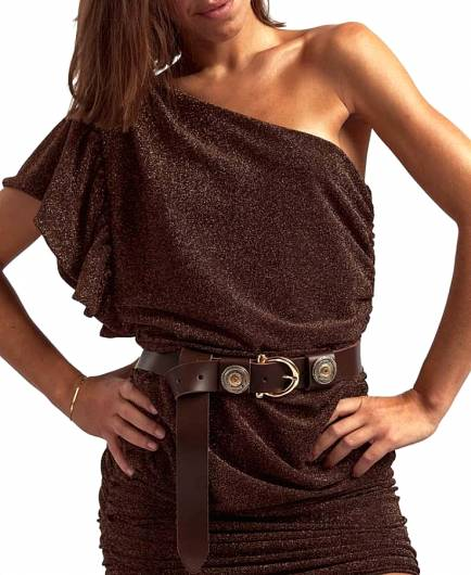 LEATHER TWIST - BELT 111 BROWN -