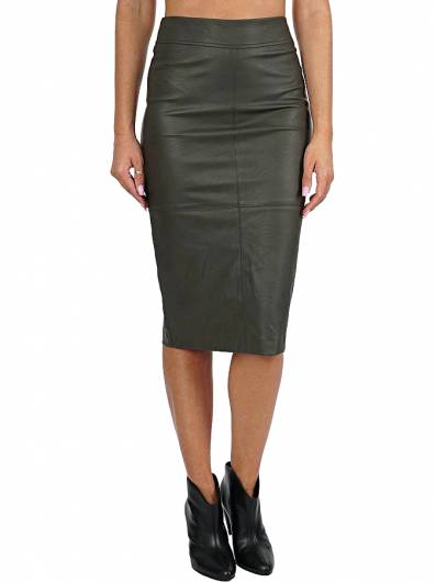 MOUTAKI - ECO LEATHER SKIRT 19.02.100 KHAKI -