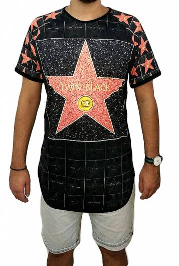 T-shirt - Twin Black Red Star -