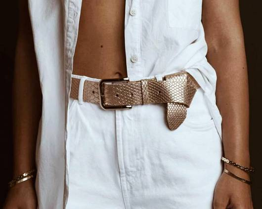 LEATHER TWIST - BELT 357 PINK GOLD -