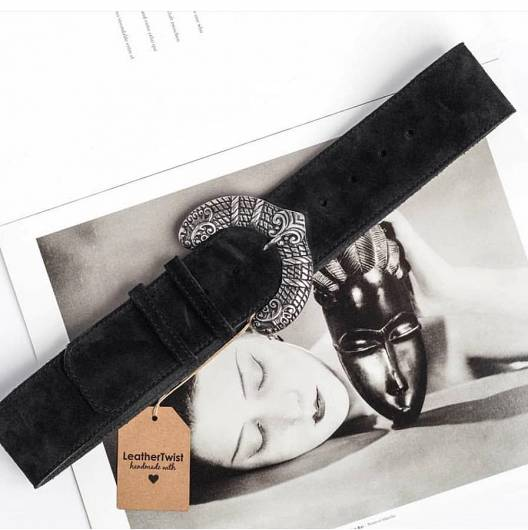LEATHER TWIST - BELT 381 BLACK -