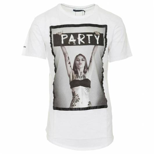 RELIGION - PARTY CURVED HEM T-SHIRT 48BPTF30 BLACK -