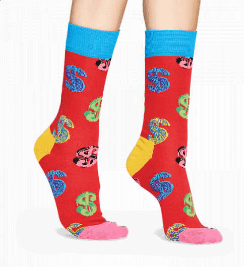HAPPY SOCKS - ANDY WARHOL DOLLAR SOCK AWDOL01-4000 -