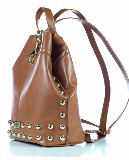 Elena Athanasiou - Black n Metal Backpack Cognac -