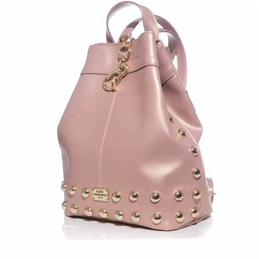 Elena Athanasiou - Black n Metal Backpack Dust Metallic Pink Gold -
