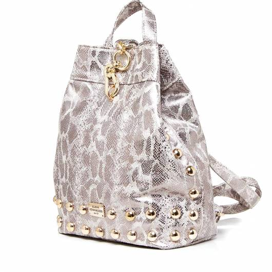 Elena Athanasiou - Black n Metal Backpack Snake Pattern Gold -