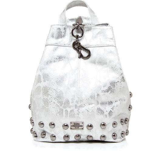 Elena Athanasiou - Black n Metal Backpack Snake Pattern Silver -