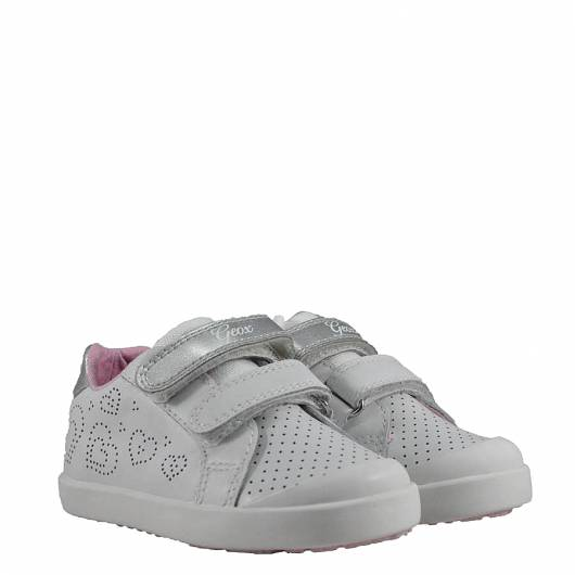 GEOX B KILWI - G. C - NAPPA+PRL.SYNT - WHITE/SILVER
