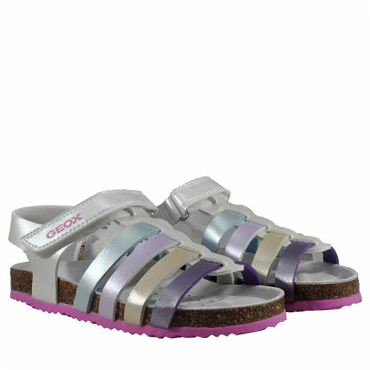 GEOX - J NEW SANDAL ALOHA G - PEARL.SYNT - WHITE/MULTICOLOR