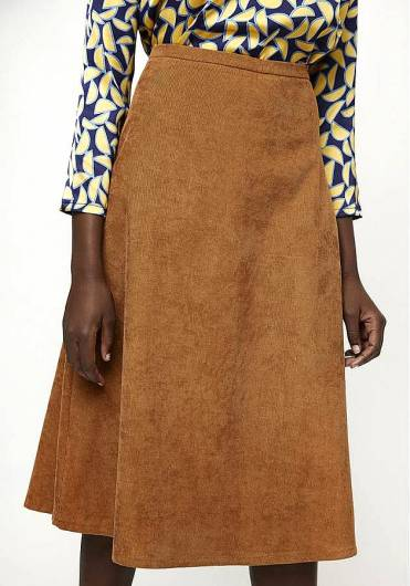 COMPANIA FANTASTICA - BROWN SHIFT MIDI SKIRT FA19HAN07 -