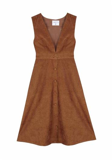 COMPANIA FANTASTICA - BROWN MIDI PINAFORE DRESS FA19HAN25 -