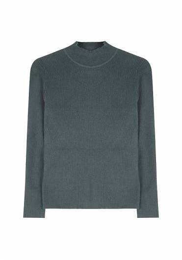 COMPANIA FANTASTICA - GREEN RIBBED JUMPER FA19SHA06 -