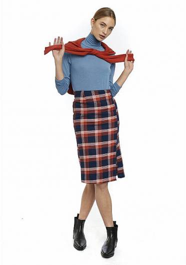 COMPANIA FANTASTICA - ORANGE CHECK FLANNEL TUBE SKIRT FA20PIC05 -