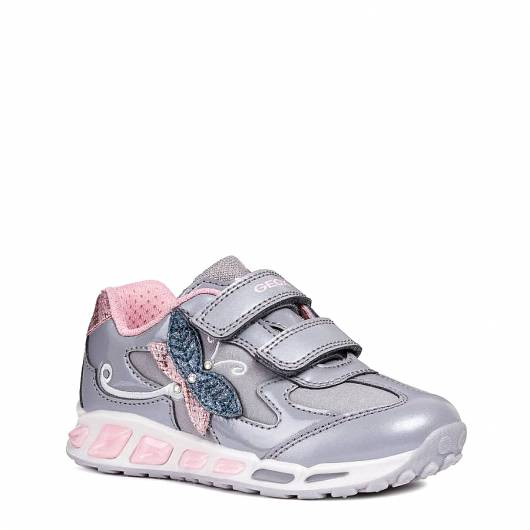 GEOX - J SHUTTLE G A - VER.SI+SCA.SI - GREY/PINK