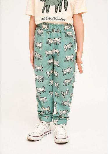 COMPANIA FANTASTICA - MINI | COTTON DALMATIAN PRINT JOGGING BOTTOMS WITH ELASTICATED WAIST KP21HIL02 -