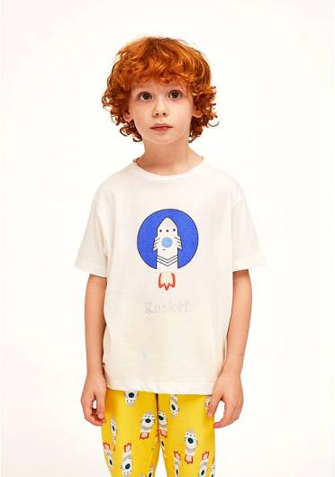 COMPANIA FANTASTICA - MINI | COTTON FRONT ROCKET PRINT T-SHIRT KP21HIL13 -