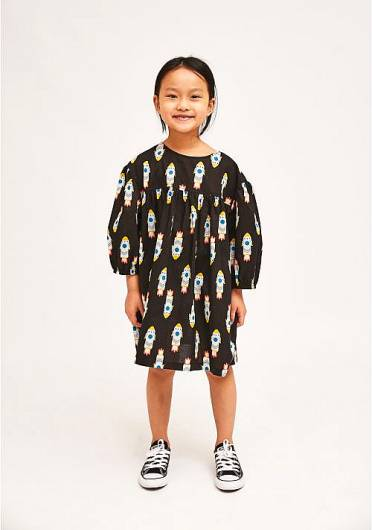 COMPANIA FANTASTICA - MINI | BLACK LOOSE-FIT ROCKET PRINT DRESS KP21KAR01 -