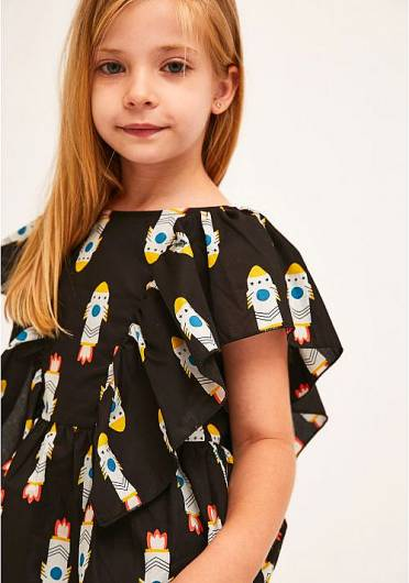 COMPANIA FANTASTICA - MINI | ROCKET PRINT A-LINE TOP WITH SIDE RUFFLES KP21KAR03 -