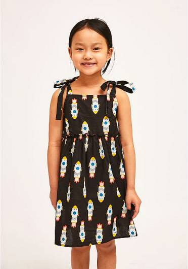 COMPANIA FANTASTICA - MINI | BLACK ROCKET PRINT STRAP DRESS KP21KAR08 -