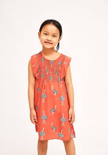 COMPANIA FANTASTICA - MINI | SMOCK OSTRICH PRINT DRESS KP21KAR09 -