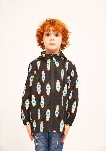 COMPANIA FANTASTICA - MINI | LONG ROCKET PRINT PARKA WITH REMOVABLE HOOD KP21LIN05 -