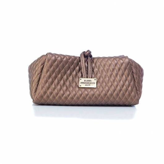 Elena Athanasiou -  Lunch Bag Large Quilted Metallic Bronze -