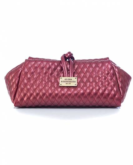 Elena Athanasiou -  Lunch Bag Large Quilted Metallic Burgundy -