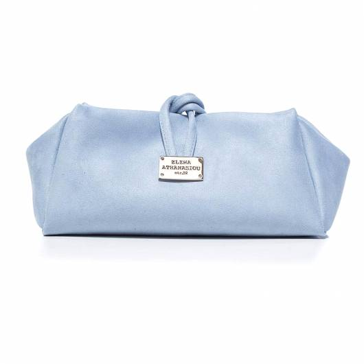 Elena Athanasiou - Lunch Bag Large Suede Baby Blue -