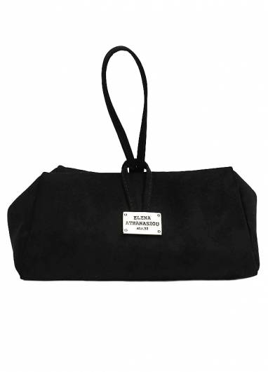 Elena Athanasiou - Lunch Bag Large Suede Black -