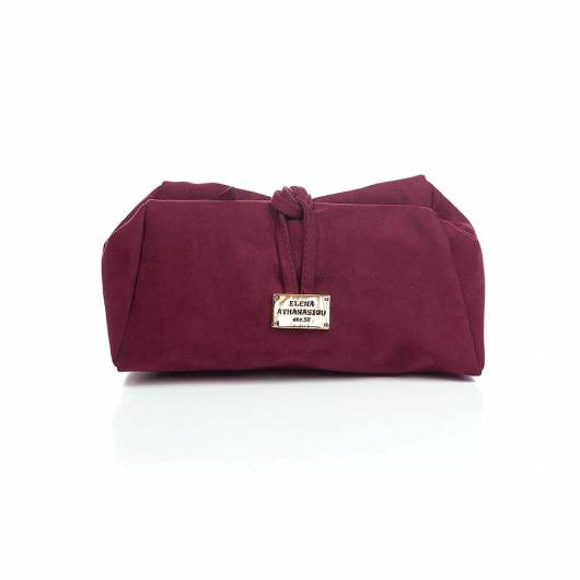 Elena Athanasiou - Lunch Bag Large Suede Burgundy -