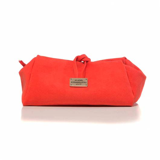 Elena Athanasiou - Lunch Bag Large Suede Coral -