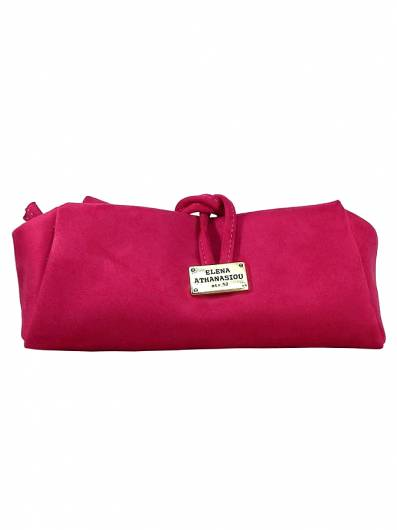 Elena Athanasiou - Lunch Bag Large Suede Fuchsia -