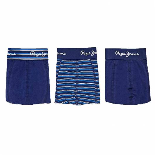 PEPE JEANS - SHORT TRUNK HARK PMU10487 (563) 3pk Blue Stripe/Plain 563 -