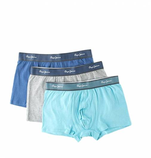 PEPE JEANS - Short Trunk SHAYNE PMU10312 (933) 3pk Grey Marl Union Blue Lt Blue -