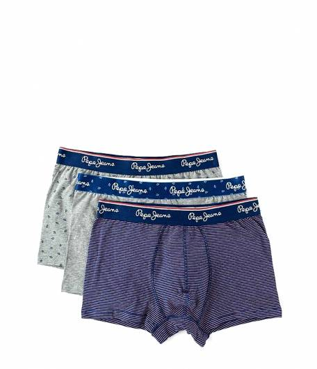 PEPE JEANS - Short Trunk BEAL PMU10473 (0AA) 3pk Grey Marl Print Steel Blue Stripe -