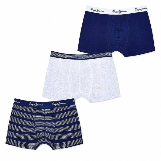 PEPE JEANS - Short Trunk MAC PMU10493 3pk Streel Blue Stripe Print Plain 0AA -