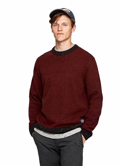 PEPE JEANS - MARCUS FLECKED JUMPER PM701957 (490) WINE