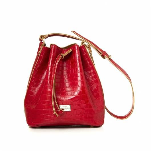 Elena Athanasiou - Pouch Bag Croco Pattern Red -