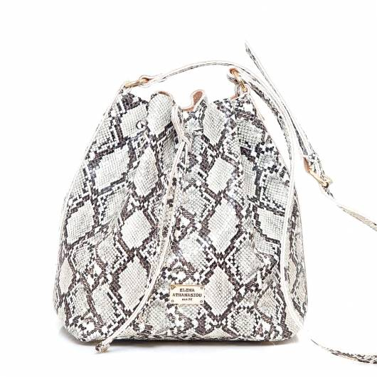 Elena Athanasiou - Pouch Bag Soft Snake Pattern Sand -