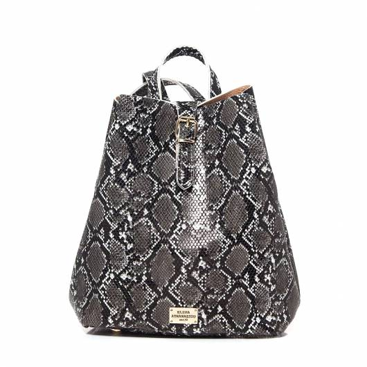 Elena Athanasiou - Recycled Backpack Snake Pattern Black -