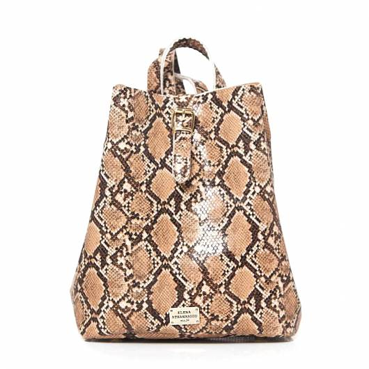 Elena Athanasiou - Recycled Backpack Snake Pattern Camel -