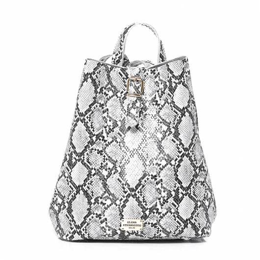 Elena Athanasiou - Recycled Backpack Snake Pattern White -