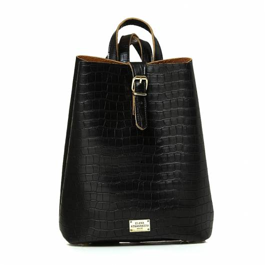 Elena Athanasiou -  Recycled Leather Backpack Croco Pattern Black -