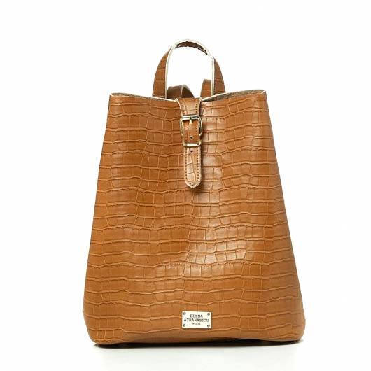 Elena Athanasiou - Recycled Leather Backpack Croco Pattern Cognac -