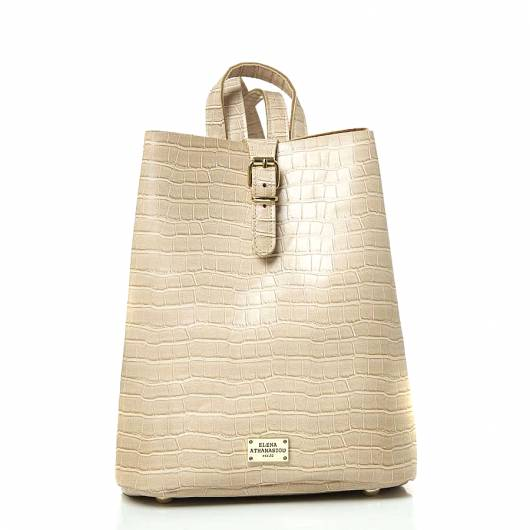 Elena Athanasiou - Recycled Leather Backpack Croco Pattern Creme -