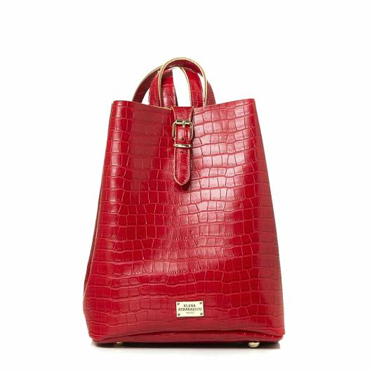 Elena Athanasiou - Recycled Leather Backpack Croco Pattern Red -