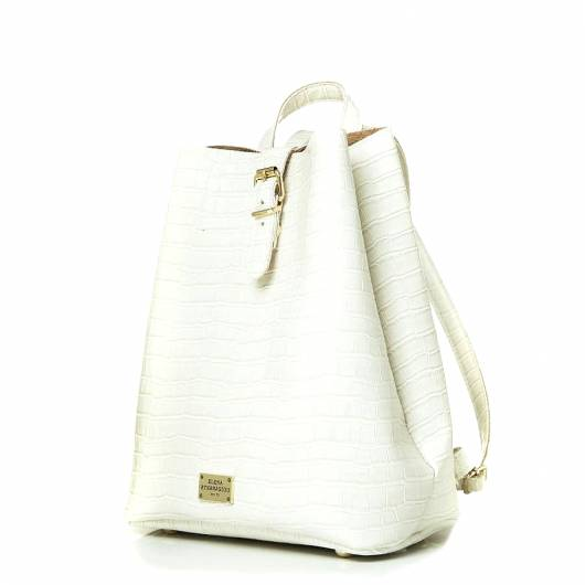 Elena Athanasiou - Recycled Leather Backpack Croco Pattern White -