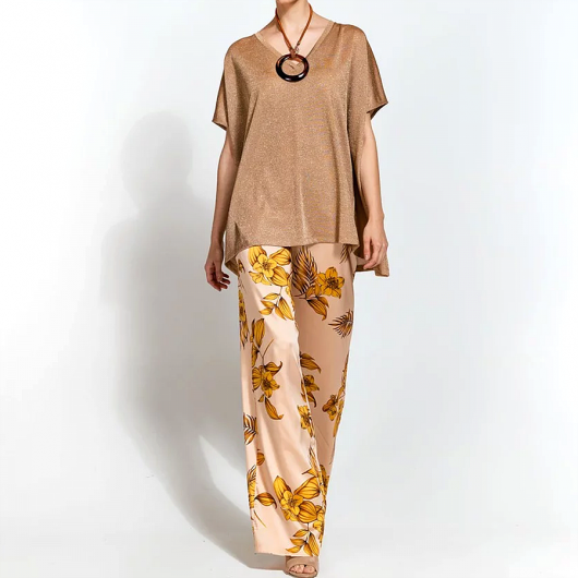 ACCESS - Μπλούζα oversized lurex - S0-2097 GOLD