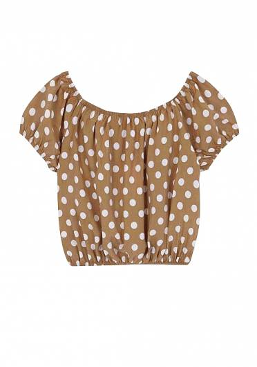 COMPANIA FANTASTICA - BEIGE POLKA-DOT CROPPED TOP SP19COC02 -